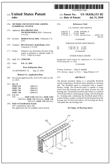 US Patent For RISING FLOODWALL SYSTEM US10036133 2