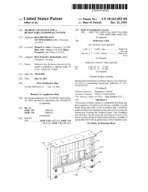 US Patent - Movable Barrier Flood Wall System US - 10,161,093 B2